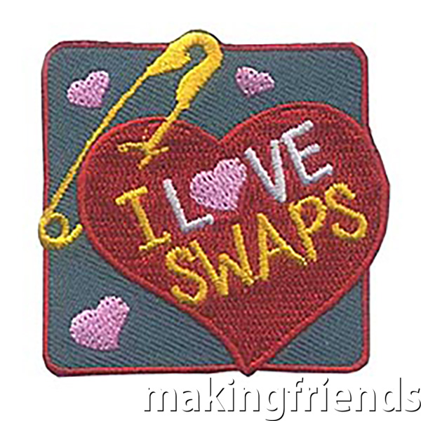 I Love SWAPs* Patch (Heart) LIMITED SUPPLY! Don't miss your chance to share these adorable patches with your scouts. New to SWAPs* or need inspiration? Take a look at our pageSWAPs: Share With A Pal. Whether you have one event dedicated to making and trading crafts or include time at a service unit or council event for girls to trade, your girls will have so much fun trading these cute keepsakes and meeting new girls. $.69 each Free Shipping Available #makingfriends #friendshipswaps via @gsleader411