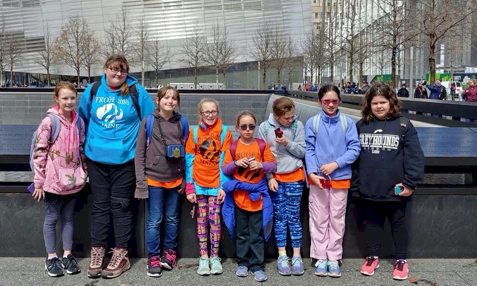 Junior Girl Scout visiting the 911 Memorial in New York City.