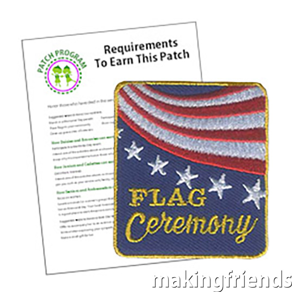 """The """"Flag Ceremony"""" Service Patch can be a great acknowledgement that your group respects the American Flag. Especially appropriate for Flag Day activities or patriotic holiday events. #flags #usa #flagceremony #patchprogram #servicepatch #americanflag via @gsleader411"""