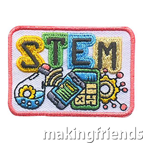 STEM Patch -- Square. This STEM Patch from MakingFriends®.com is perfect for girls who participated in activities featuring Science, Technology, Engineering and Math. Troop leaders who aren't experienced with fun STEM activities can reach out to local teachers or local college students to ask them to help plan activities to get the girls in your troop in service unit excited about STEM. #makingfriends #stem #stempatch #science #tecnology #engineering #math #girlscoutspatches #gspatches via @gsleader411