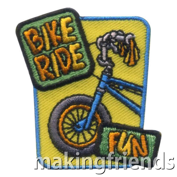 Bike Ride Patch from MakingFriends®.com. Going for a bike ride is a great healthy habit for your girls. Participate in a local safety event. For a fun troop trip, find a local park with a biking trail. Remember the fun with the Bike Ride Patch from MakingFriends®.com. #makingfriends #scoutpatches #girlscouts #scouts #juliettescouts via @gsleader411