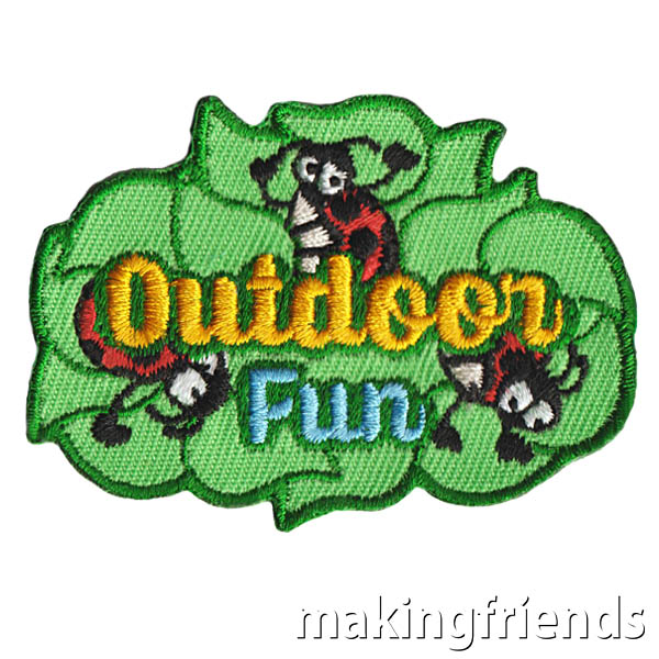 There are so many fun things to do outdoors! Get this patch to help remember the fun.$.69 each Free Shipping Available #makingfriends #outdoorfun #outdoors #outdoorpatch #girlscoutpatch #gspatches #outside #fun #patches #freeshipping via @gsleader411