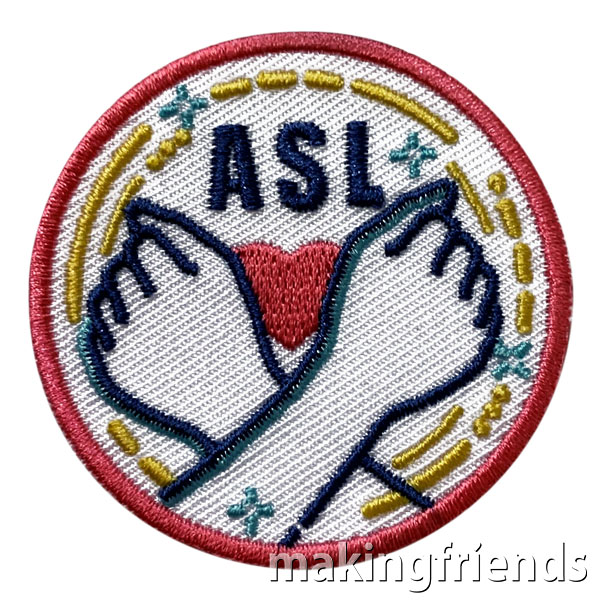 Sign Language Fun Patch. Your scout troop will love to learn sign language! These fun patches! $.69 each free shipping available. #makingfriends #signlanguage #signlanguagepatch #funpatches #gspatches #girlscouts #girlscoutpatches #mf #patches via @gsleader411