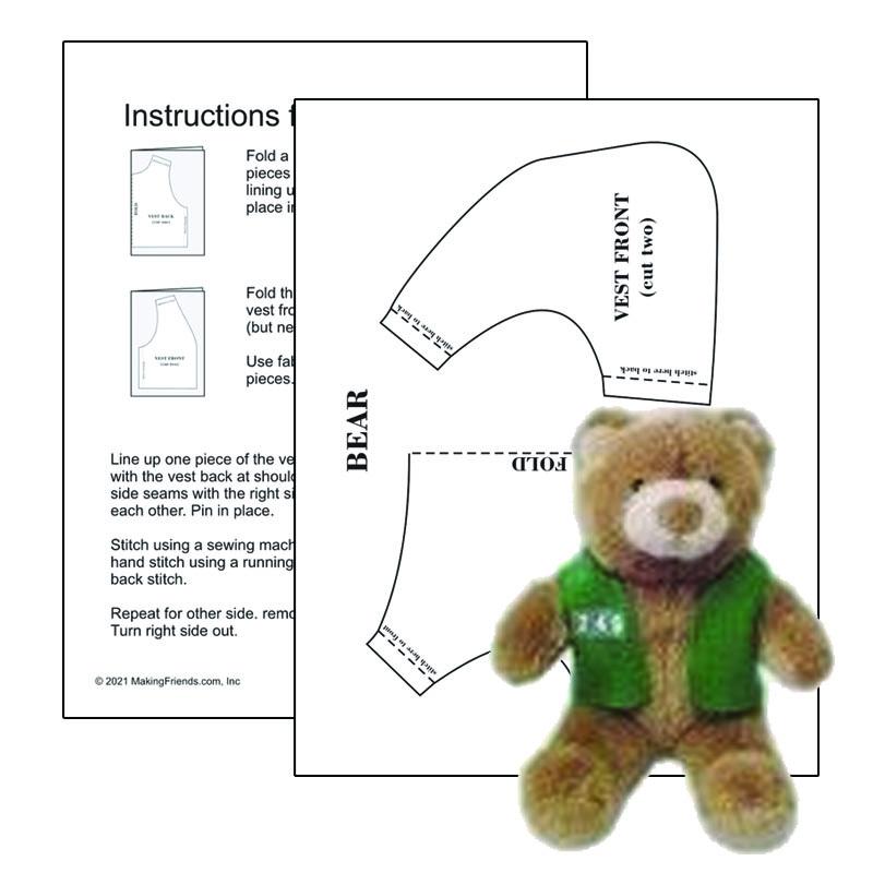Girl Scout Printable Vest Pattern for Bear
