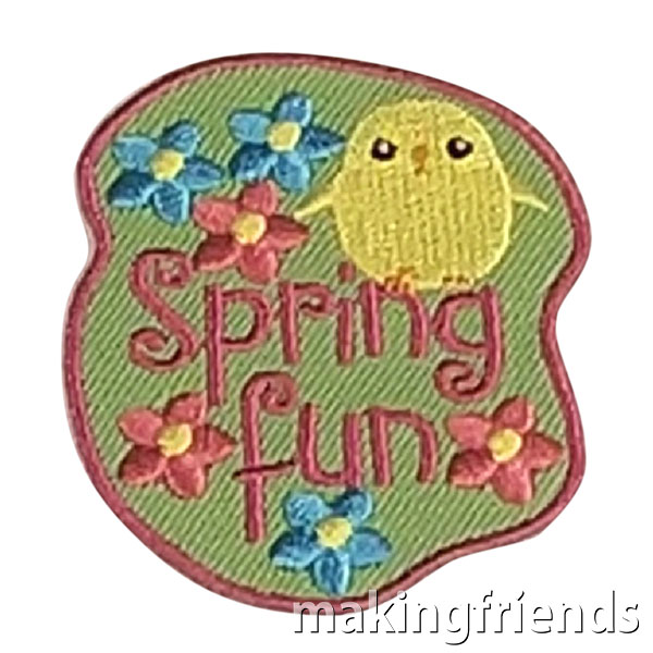 Coming Soon! Spring Fun Patch. Only $.69 each with free shipping available! #makingfriends #spring #springfun #springfunpatch #funpatch #girlscouts #gsfunpatches #gspatches #comingsoon via @gsleader411