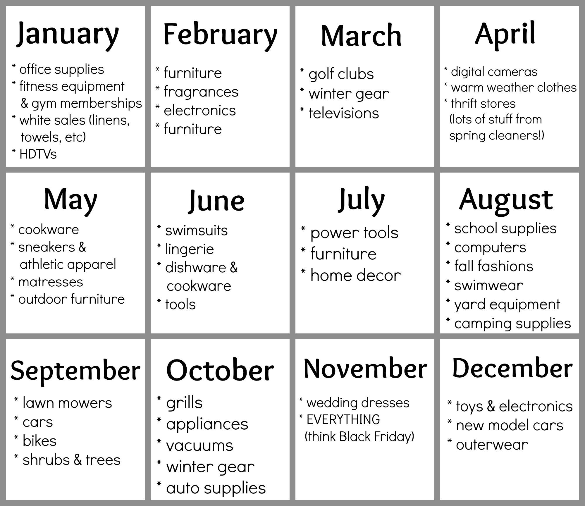 Free Printable Best Deals Calendar