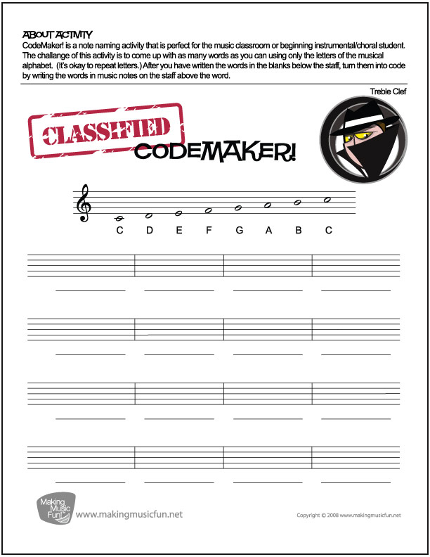 "Free ""Secret Agent"" Music Note Name Worksheets – Bluebird Music Lessons"