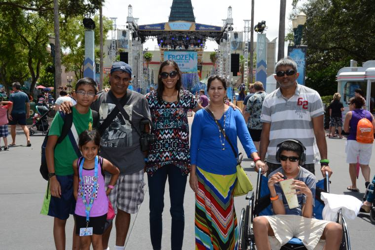 Family picture at Hollywood Studios. We had Mysoon stand up for most pictures, so this was one of the only ones with him in the wheel chair.