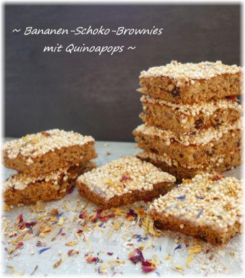 Bananen-Schoko-Brownies mit Quinoapops