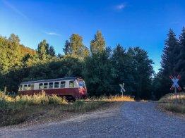 Die niedliche, kleine Selketalbahn vor meinem Feriendomizil in Günthersberge