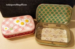 Some Mod Podge and scrapbook paper added to mini Altoid tins converted them into pretty boxes with countless uses - from pill containers to sewing kits to gift boxes.