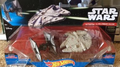 Photo of Hot Wheels Star Wars: The Force Awakens TIE Fighter vs. Millennium Falcon hits eBay!