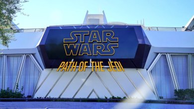 Photo of Disneyland's Star Wars: Path of the Jedi sign is up at the old Magic Eye Theater!