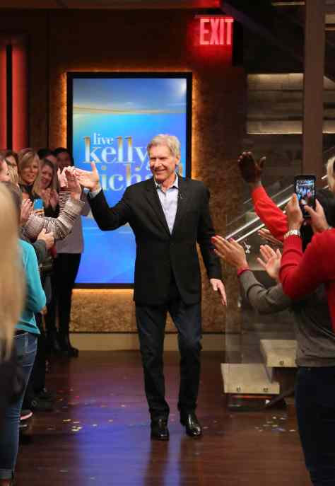 "Kelly Ripa and Michael Strahan talk with Harrison Ford during the production of ""LIVE with Kelly and Michael"" in New York on Tuesday, Dec. 1, 2015. Photo: David M. Russell/Disney ABC Home Entertainment and Television Distribution ©2015 Disney ABC. All Rights Reserved."