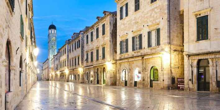 Dubrovnik at night, Croatia, Franciscan Monastery on Stradun, pictures of Croatia by travel photographer and panoramic photographer Matthew Williams-Ellis