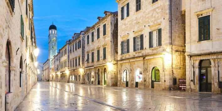 Dubrovnik at night, Croatia, Franciscan Monastery on Stradun, pictures of Croatia by travel photographer and panoramic photographer Matthew Williams-Ellis