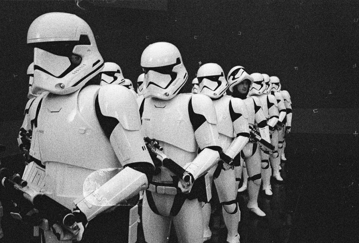 Rian Johnson shares image of tweaked First Order Stormtroopers from The Last Jedi. Tom Hardy?