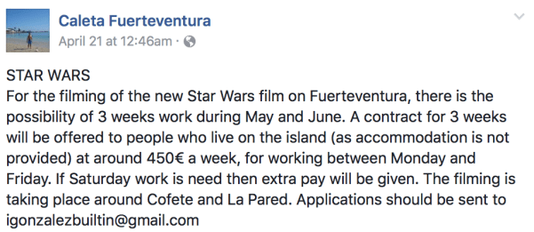 Untitled Han Solo Star Wars Story to film in Fuerteventura for three weeks from May to June?
