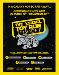"""""""The Kessel Toy Run"""" is back! Star Wars fans we need your help this year. Donate unopened Star Wars toys for hospitalized children!"""