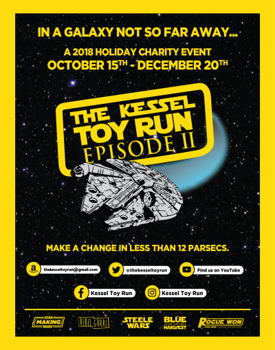 """The Kessel Toy Run"" is back! Star Wars fans we need your help this year. Donate unopened Star Wars toys for hospitalized children!"