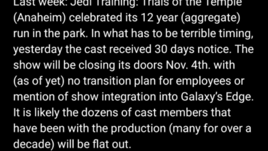 Photo of Jedi Training: Trials of the Temple at Disneyland closing down with no transition plan for current cast members