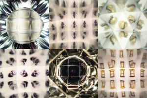 photos taken through kaleidescopes - of printed slides and scraps of paper