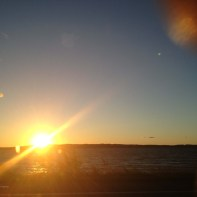 sun setting over the East Arm of Grand Traverse Bay