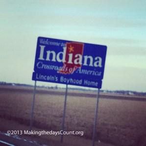 crossing the line.... Ohio into Indiana