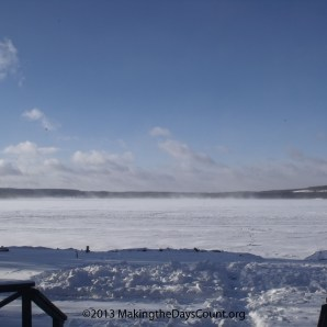 snow stopped blowing and i cna see the other side of the lake - for now...