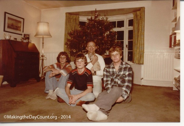 Chirstmas 1978 - Reading, England - Warren, David, dad with Sambo, and me