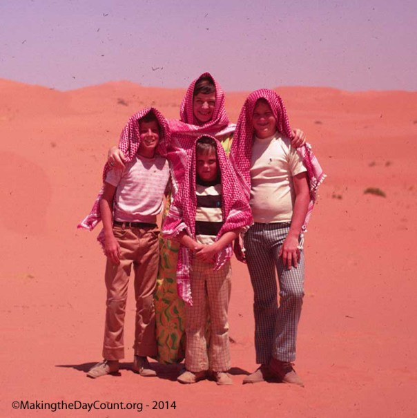 Warren, David, and I - Juliana in the back - Red Sands in Saudi Arabia - July 1975