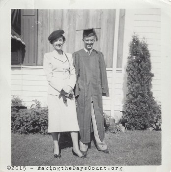 my dad and his mom - high school graduation June 1950