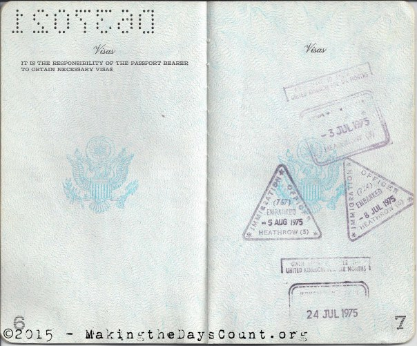 my passport with London  Heathrow stamps - July 1975