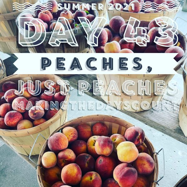 simmer peaches, especially Michigan peaches from the Michigan fruit coast