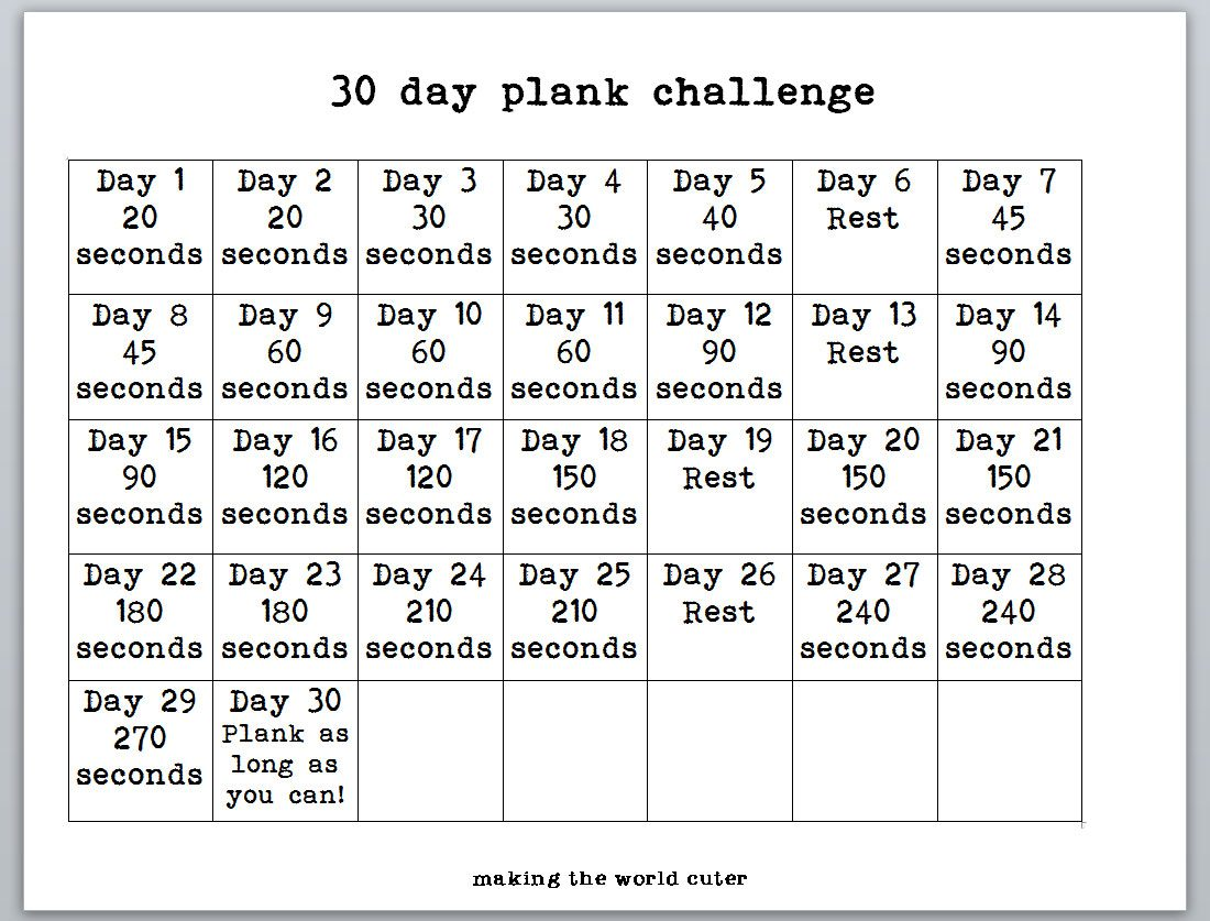 photo relating to 30 Day Plank Challenge Printable identified as 30 Working day Plank Situation Printable - ost towards pst converter