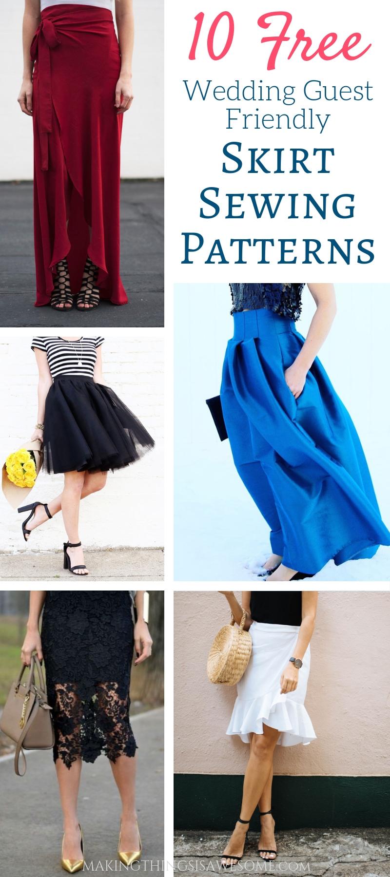 10 Free DIY Skirt Sewing Patterns - Wedding Guest Friendly Skirts! - pin