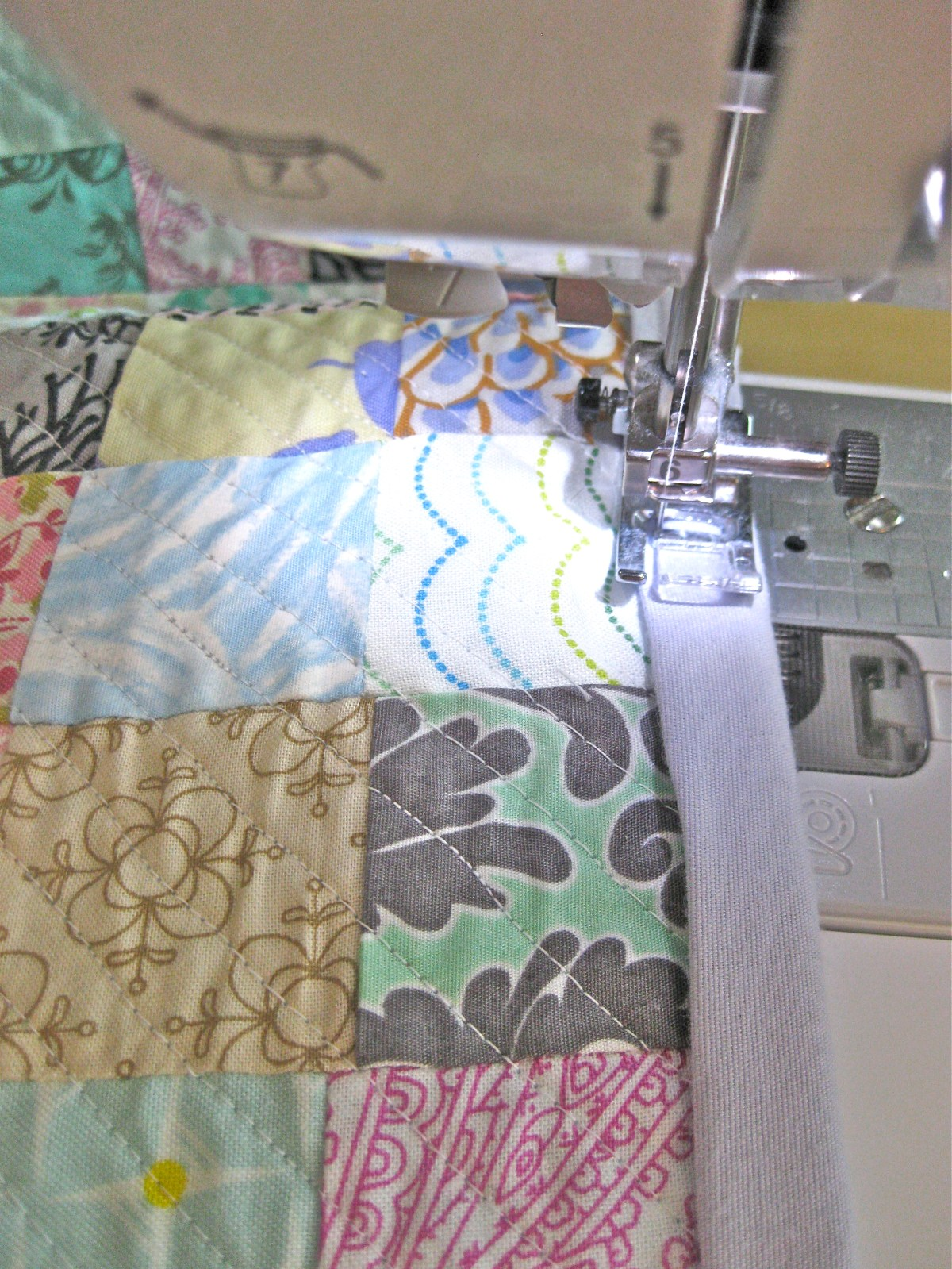 DIY Queen sized chenille quilt - sewing binding