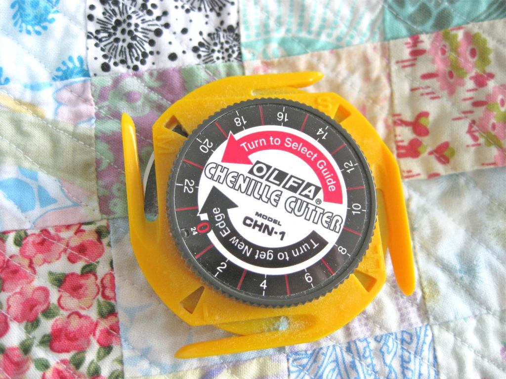 DIY Queen sized chenille quilt - OLFA Chenille cutter tool