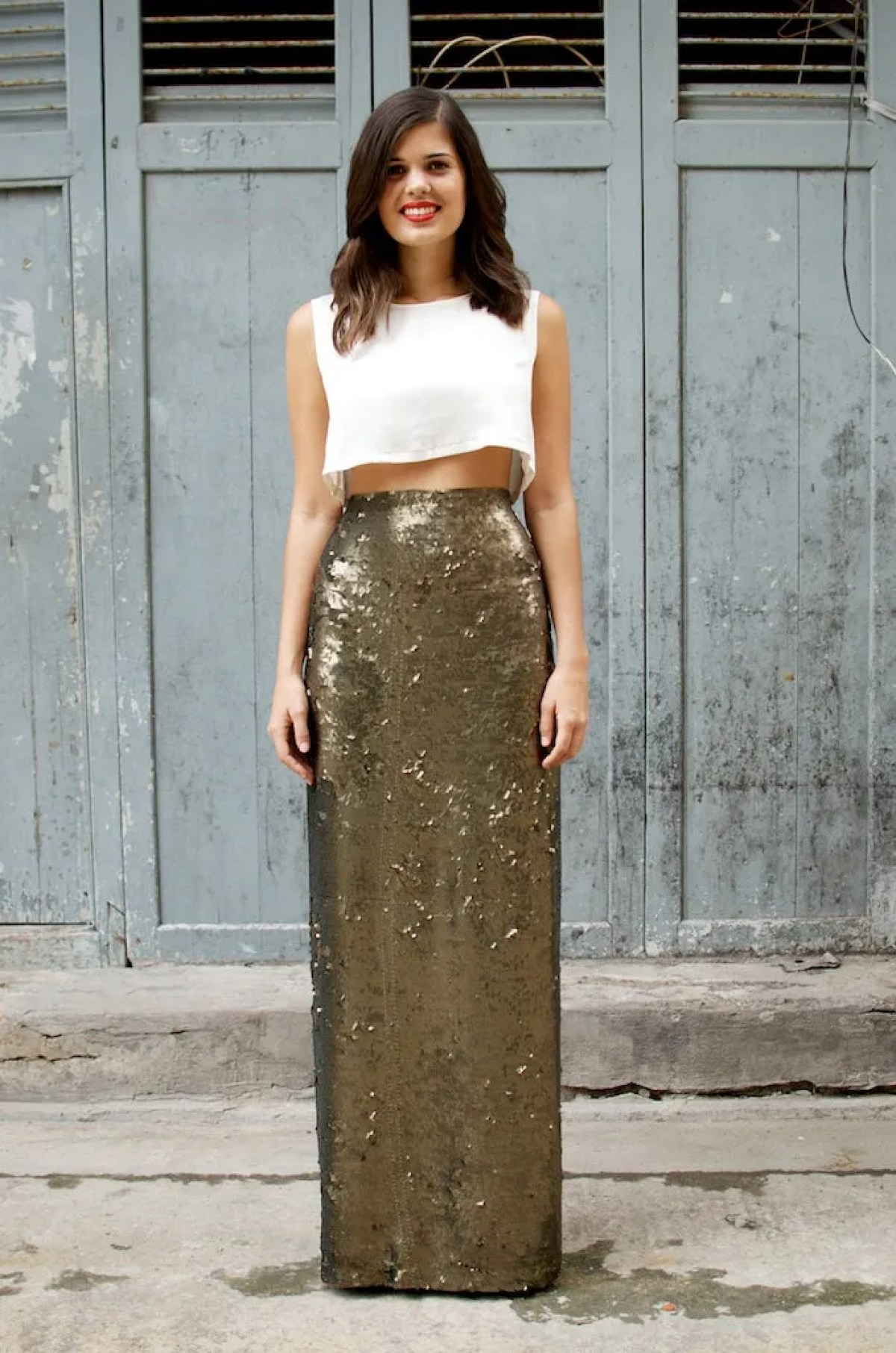10 Free DIY Skirt Sewing Patterns - Wedding Guest Friendly Skirts! - DIY Sequin Maxi Wrap Skirt - from A Pair & A Spare