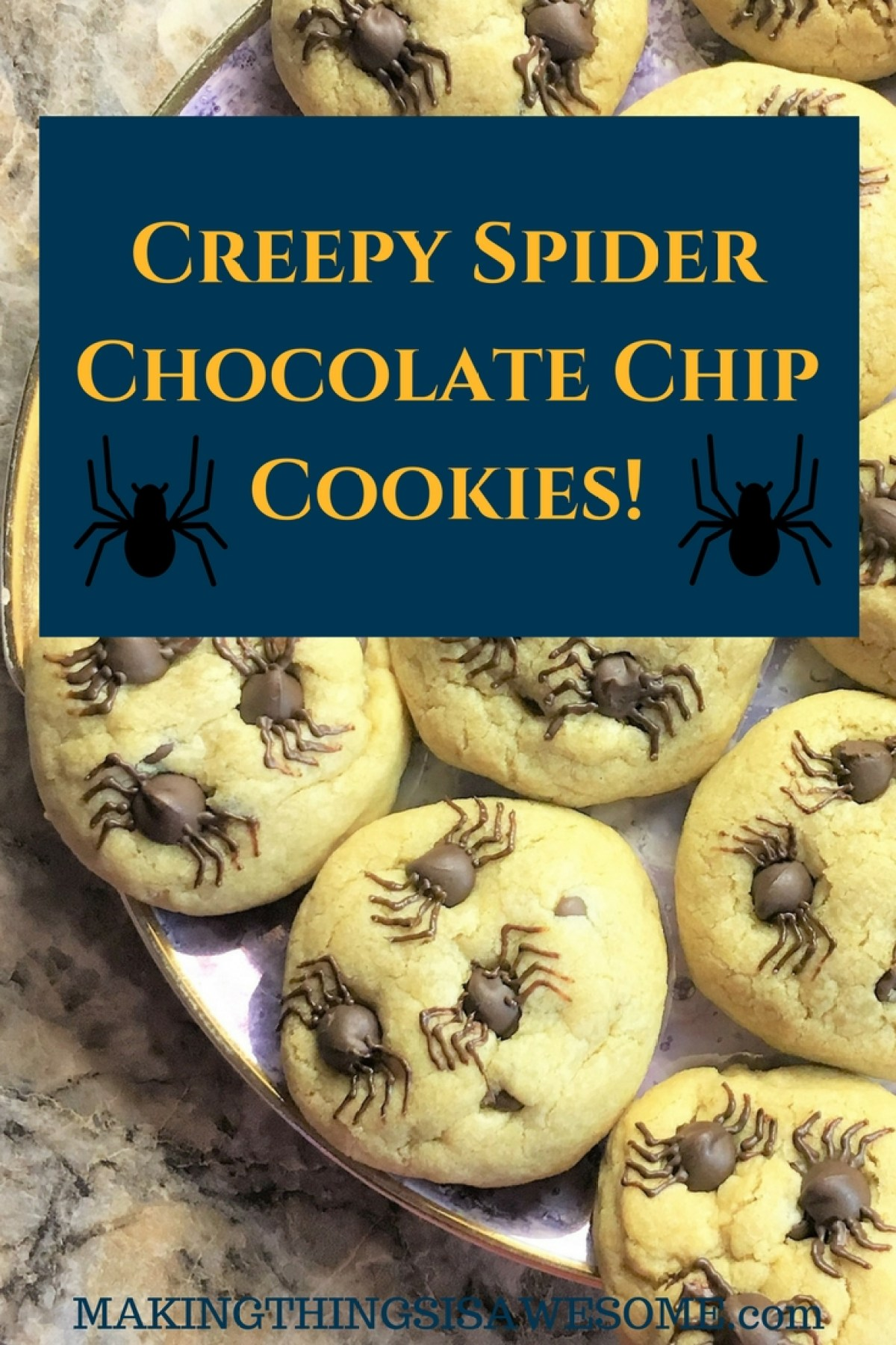 Creepy Spider Chocolate Chip Cookies!