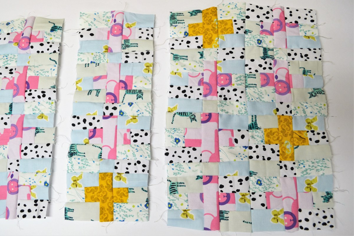 Mini Plus Sign Quilt Top Tutorial - sew strips together