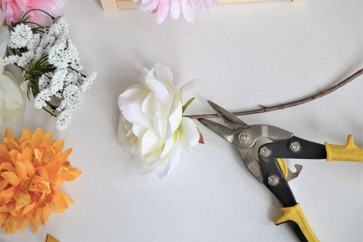 "DIY Wooden Floral Letter ""I"" Tutorial - trip flower stems"
