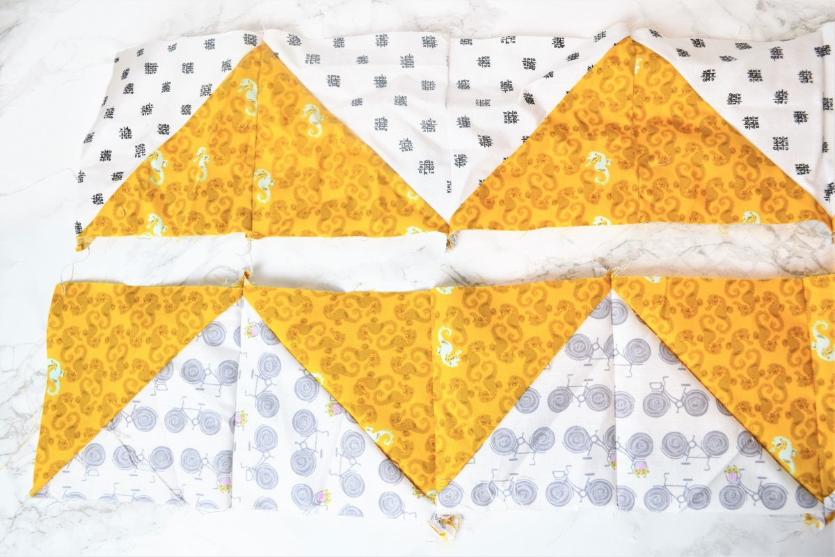 Chevron Quilt Pattern - Quilt Patterns for Beginners! - second row of quilt