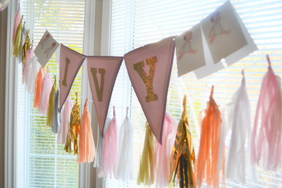 Baby Doll Party Theme - name bunting