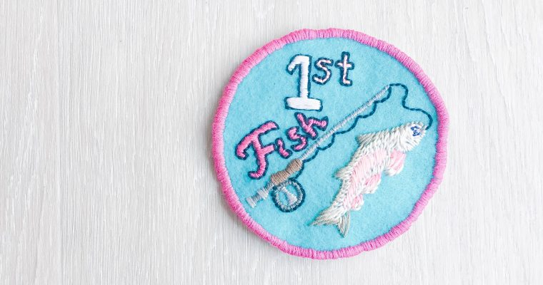 "DIY Embroidery Patches ""Merit Badges"" – Ivy's First Fish Patch!"