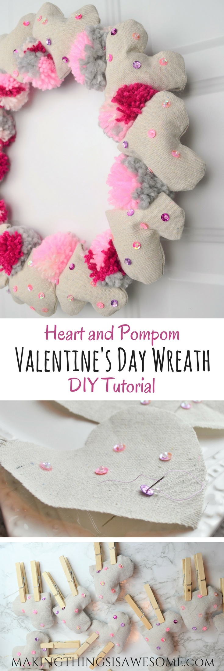 Valentine S Day Wreath Heart And Pompom Wreath For Your Front Door
