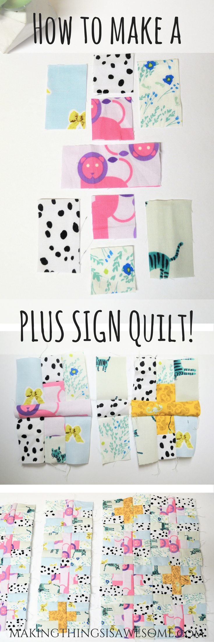 How to make a plus sign quilt