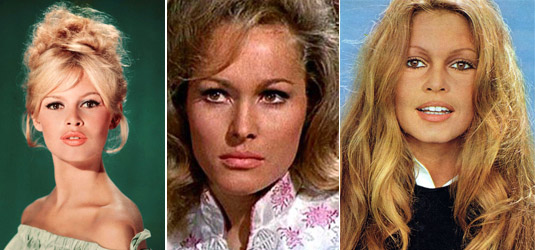 Golden Girls of the 60s: young Brigitte Bardot, Ursula Andress, Older Bardot