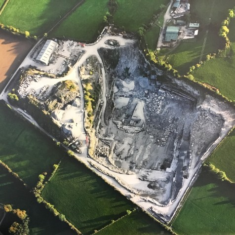 Threecastles limestone quarry aerial view