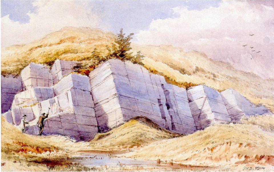Carboniferous Limestones, Kanturk, Co. Cork. Water colour by G.V. Du Noyer (1866) GSI
